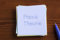 Theory and Practice in German written on a note Stock Image