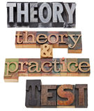 Theory, practice and test. A collage of isolated words in vintage wood letterpress printing blocks Stock Photo