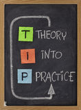 Theory into practice - TIP acronym. TIP - theory into practice concept, colorful reminder notes and white chalk handwriting on blackboard royalty free stock image