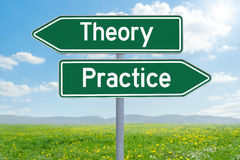 Theory or Practice. Two green direction signs - Theory or Practice Stock Images