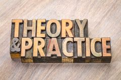 Theory and practice word abstract in wood type. Theory and practice - word abstract in vintage wood letterpress printing blocks Stock Image
