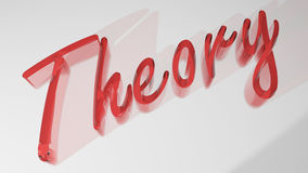 Theory red 3D write. The word `Theory` written with reddish semi-transparent 3D letters on white plane Stock Images