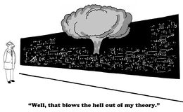 Theory. Science, business, and education cartoon about a theory that went wrong Stock Photo