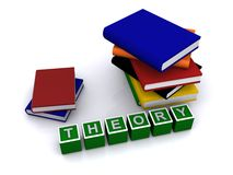 Theory. Text 'theory' in white uppercase letters inscribed on small green cubes with piles of books behind, white background Stock Photography
