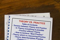 Theory vs practice concept. With topics on a cover sheet Royalty Free Stock Image