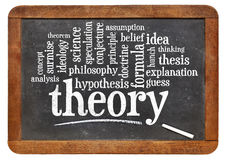 Theory word cloud on vintage blackboard Royalty Free Stock Photo