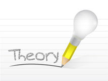 Theory written with a light bulb idea pencil Stock Photos