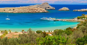 Theotokos lagoon with pure blue water. Rhodes Island Royalty Free Stock Photography