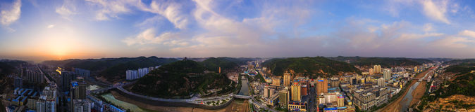 Thepanorama of Yanan City Royalty Free Stock Image