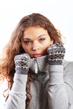 Ther girl with mittens Royalty Free Stock Photography