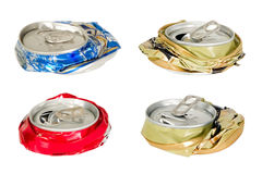 Thera are four battered cans Royalty Free Stock Images