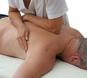 Therapeut, der Druck mit dem Unterarm anwendet Lizenzfreies Stockbild