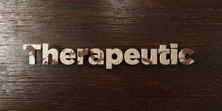 Therapeutic - grungy wooden headline on Maple  - 3D rendered royalty free stock image Royalty Free Stock Images