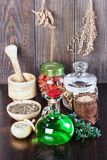 Therapeutic herbal tincture, alternative medicine, love potions, Royalty Free Stock Photo