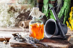 Therapeutic herbs in bottles with alcohol and honey Royalty Free Stock Photos