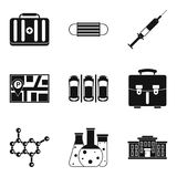 Therapeutic icons set, simple style. Therapeutic icons set. Simple set of 9 therapeutic vector icons for web isolated on white background Royalty Free Stock Image