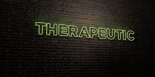 THERAPEUTIC -Realistic Neon Sign on Brick Wall background - 3D rendered royalty free stock image Royalty Free Stock Image