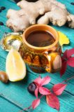 Therapeutic tea with ginger Royalty Free Stock Image