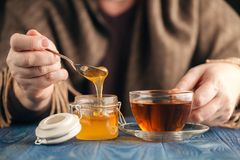 Therapeutic tea with honey Stock Photo