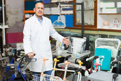 Therapeutist posing near orthopaedic equipment Royalty Free Stock Images