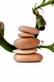 Theraphy与竹子的温泉石头 图库摄影