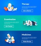 Therapieonderzoek en geneesmiddelen banners van isometrisch kleurenontwerp Stock Foto's