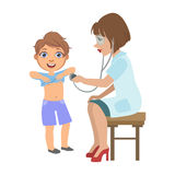 Therapist Checking Boys Lungs With Stethoscope, Part Of Kids Taking Health Exam Series Of Illustrations. Child On Appointment With A Doctor Going Through Stock Photo
