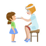 Therapist Checking Throat Of A Little Girl, Part Of Kids Taking Health Exam Series Of Illustrations. Child On Appointment With A Doctor Going Through Medical Royalty Free Stock Photos