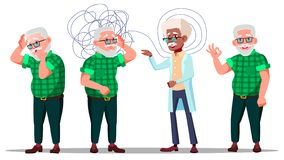 Therapist Conduct Psychotherapy Counseling Vector. Old Man Patient With Depression On Reception Be Therapist. Treatment Of Stress, Addictions And Mental stock illustration