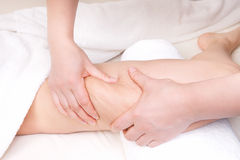 Therapist doing  anti cellulite massage. To improve skin condition Royalty Free Stock Photography