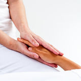 Therapist hands doing reiki. Royalty Free Stock Photos