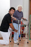 Therapist helping Patient use Walker. A therapist assisting a senior women onto her walker Royalty Free Stock Images