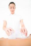 Therapist making a suction massage Royalty Free Stock Photo