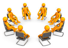 Therapy. Orange cartoon seats on chairs. White background Royalty Free Stock Photography