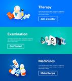 Therapy examination and medicines banners of isometric color design stock illustration