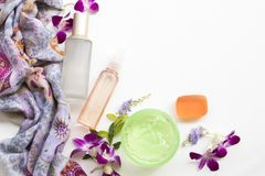 The therapy first serum toners ,water spray ,soothing gel health care beauty for skin face. The therapy first serum toners ,water spray ,herbal soap,soothing gel royalty free stock photography