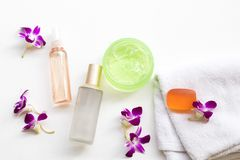 The therapy first serum toners ,water spray ,soothing gel health care beauty for skin face. The therapy first serum toners ,water spray ,herbal soap,soothing gel royalty free stock photo
