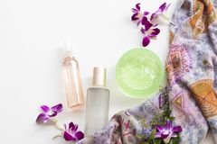 The therapy first serum toners ,water spray ,soothing gel health care beauty for skin face. Of lifestyle woman arrangement flat lay on background white royalty free stock image