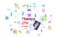 Therapy Healthcare Banner Medical Help, Medicine Treatment Concept. Vector Illustration Royalty Free Stock Photo