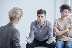 Therapy for married couples. Man and women during therapy for married couples stock images