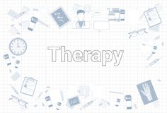 Therapy Stuff On Squared Notebook Paper Background Medicine Equipment Workplace Concept. Medicine Stuff On Squared Notebook Paper Background Therapy Equipment Royalty Free Stock Photography