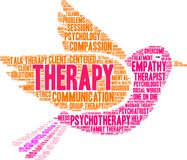 Therapy Word Cloud. On a white background Royalty Free Stock Photo