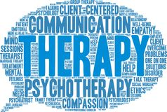 Therapy Word Cloud. On a white background Royalty Free Stock Photography