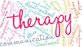 Therapy Word Cloud. On a white background Royalty Free Stock Photos