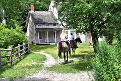 Smithtown blydenburgh park horse riding getaway royalty free stock images