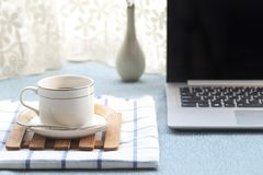 There are all kinds of office and daily necessities on the desk Stock Photo