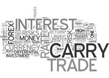 Are There Any Risks With A Carry Trade Word Cloud. ARE THERE ANY RISKS WITH A CARRY TRADE TEXT WORD CLOUD CONCEPT Stock Image