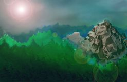 There is a beautifyl landscape with a mountain. Llustration created in the program Photoshop Royalty Free Stock Image