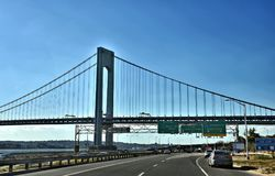 New york brooklyn highway exit verrazzano bridge stock image