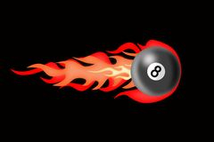 There is a billiard ball afire. Illustration of billiard ball of quickly flying with a tail fire Stock Photo